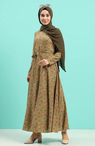Robe Hijab Vert khaki clair 20Y3034302-07
