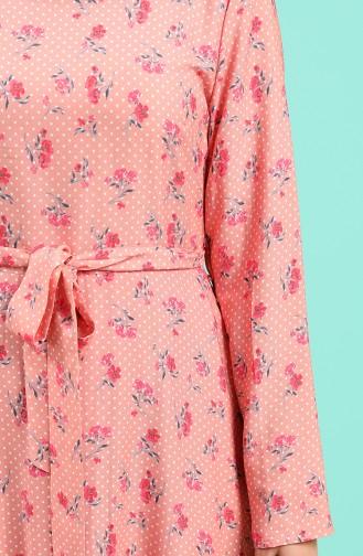 Viskon Desenli Elbise 20Y3034302-08 Pembe