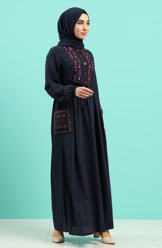 Dunkelblau Hijap Kleider 8005-03