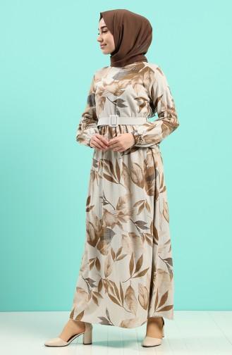 Robe Hijab Couleur Brun 8087-01