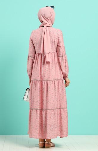 Beige-Rose Hijap Kleider 8089-04