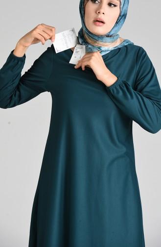 Kolu Lastikli Elbise 1907-01 Zümrüt Yeşili