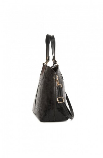 Bagmori Kroko Üç Bölmeli Çıtçıtlı Çanta M000003772 Siyah