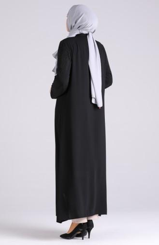 Büyük Beden Taş Baskılı Ferace 1047-01 Siyah