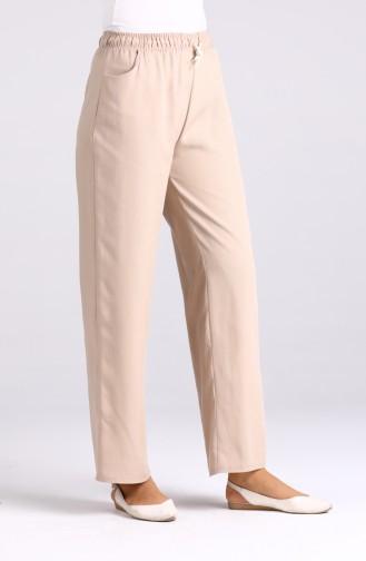 Cep Detaylı Keten Pantolon 4203PNT-01 Bej