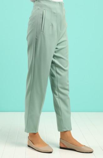 Pocket Detailed Straight Leg Pants 1746-05 Sea Green 1746-05