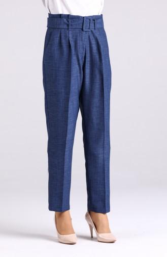 Belted Straight Leg Trousers 1123-02 Indigo 1123-02