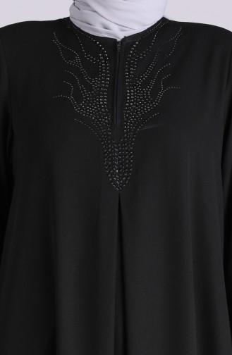 Büyük Beden Taş Baskılı Ferace 1090-01 Siyah