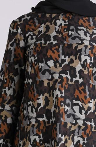 Desenli Örme Tunik 1301-01 Kahverengi