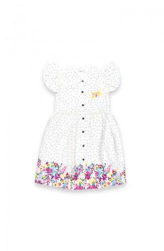 Kız Çocuk Puantiyeli Çiçek Baskılı Elbise 09669-01 Krem