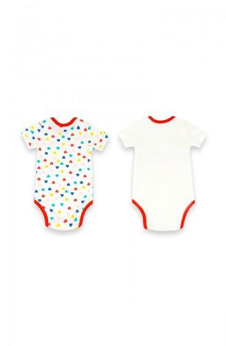 Kız Bebek Baskılı 2 li Body 09817-02 Kırmızı