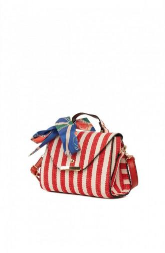 Bagmori Çizgi Desenli Kapaklı Şallı Çanta M000004747 Kırmızı