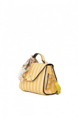 Bagmori Çizgi Desenli Kapaklı Şallı Çanta M000004747 Sarı