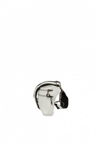 Bagmori Deri Askılı Zincirli Bel Çantası M000001977 Beyaz
