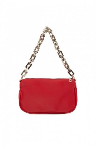 Bagmori Plastik Zincirli Saten Baget Çanta M000004780 Kırmızı