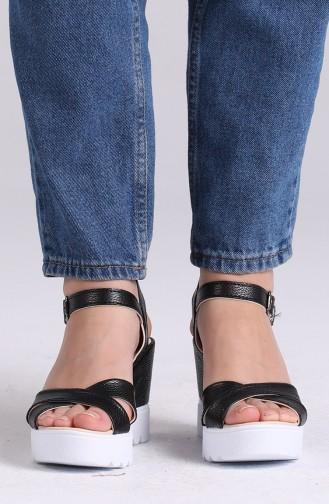 Bayan Yazlık Topuklu Ayakkabı 98800-0 Siyah