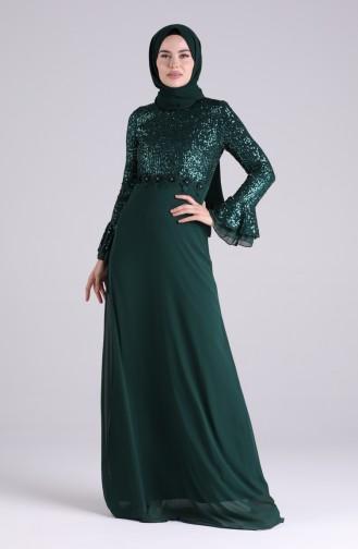 فساتين سهرة بتصميم اسلامي أخضر زمردي 5901-01