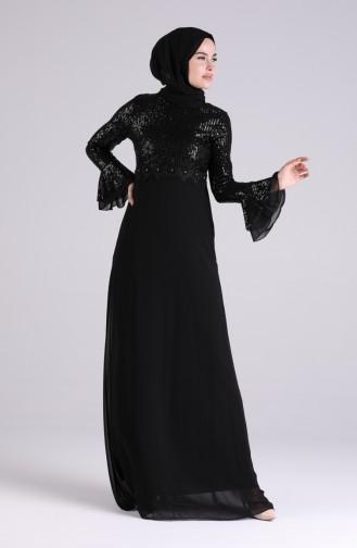 Black Islamic Clothing Evening Dress 5901-02