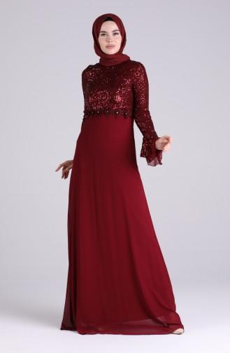 Weinrot Hijab-Abendkleider 5901-04