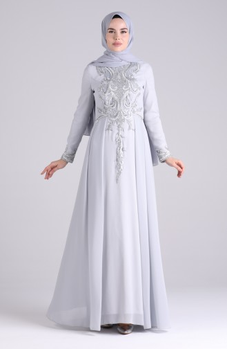Stone Evening Dress 9211-02 Gray 9211-02
