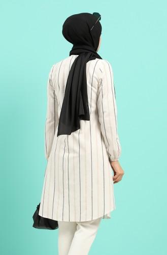 Çizgili Tunik 1147A-01 Beyaz Siyah