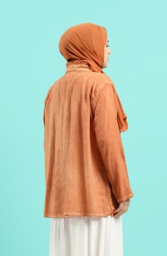 Tobacco Brown Overhemdblouse 4007-06