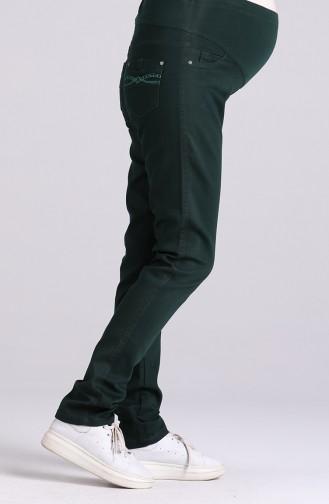 Büyük Beden Hamile Kot Pantolon 0369-01 Zümrüt Yeşili
