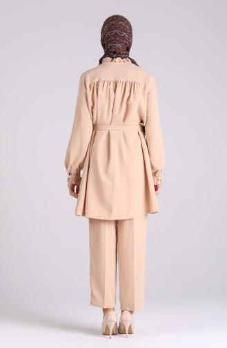 Büzgülü Tunik Pantolon İkili Takım 4226-03 Bej