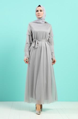 Grau Hijab-Abendkleider 2037-03
