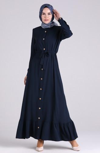 Navy Blue İslamitische Jurk 5946-01