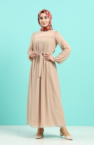 Beige Hijap Kleider 3055-06