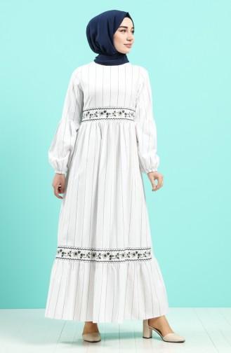 Weiß Hijap Kleider 8100-02