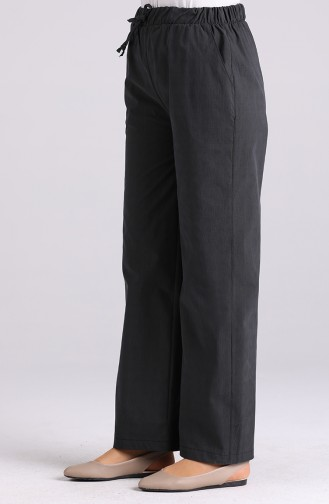 Beli Lastikli Bol Paça Pantolon 1001A-01 Füme