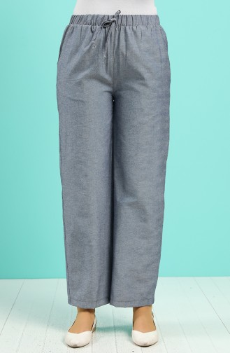 Elastic Waist Wide Leg Trousers 1001b-01 Navy Blue 1001B-01
