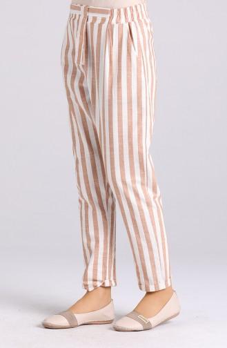 Striped Cotton Pants 4000-03 Milk Coffee 4000-03
