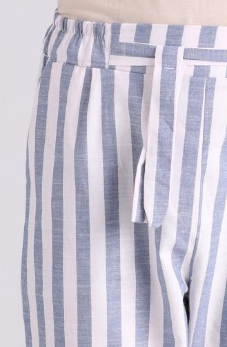 Striped Cotton Pants 4000-04 Blue 4000-04