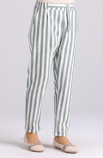 Çizgili Pamuklu Pantolon 4000-05 Yeşil