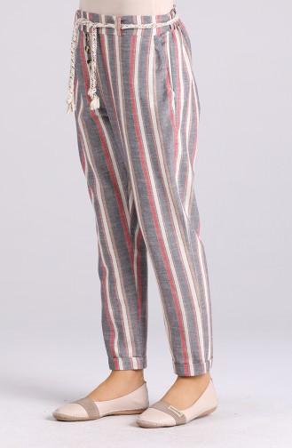 Düğme Detaylı Çizgili Pantolon 5000-01 Lacivert