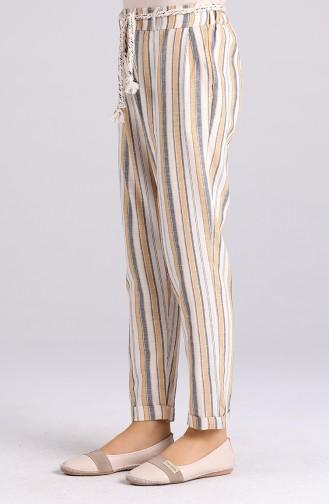 Düğme Detaylı Çizgili Pantolon 5000-03 Hardal