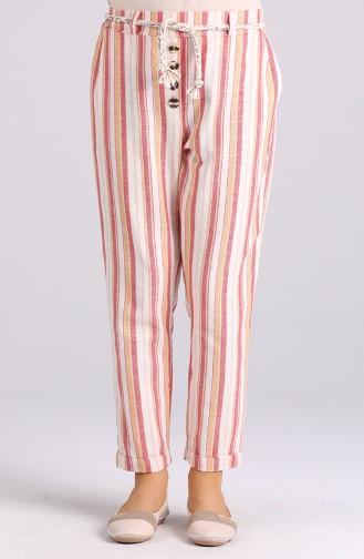 Düğme Detaylı Çizgili Pantolon 5000-04 Kiremit