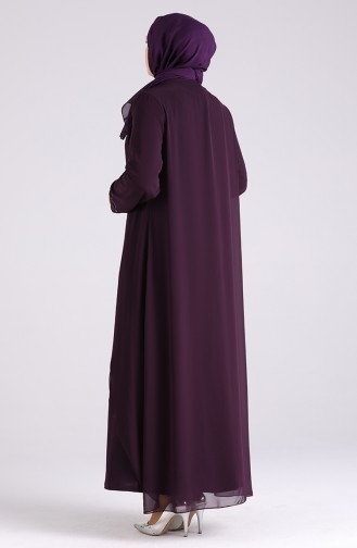Plus Size Stone Evening Dress 4528-01 Purple 4528-01