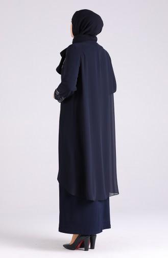 Dunkelblau Hijab-Abendkleider 3157-02