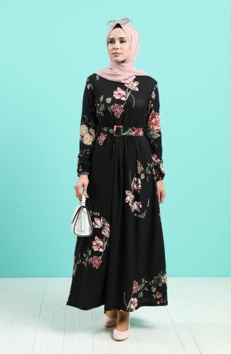 Desenli Elbise 0743E-01 Siyah