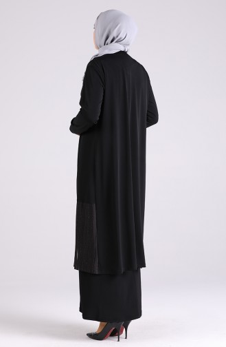 Schwarz Hijap Kleider 7053-05