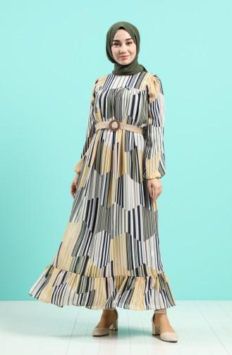 Çizgili Kemerli Şifon Elbise 3054-02 Hardal Yeşil