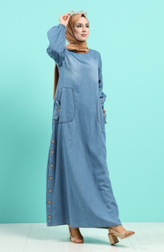 Jeansblau Hijap Kleider 80191-01