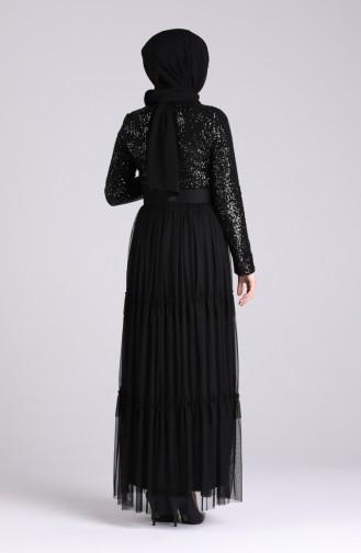 Payetli Kemerli Abiye Elbise 5701A-01 Siyah