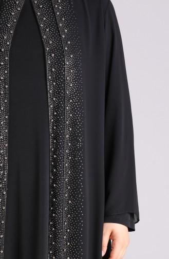 Plus Size Stone Printed Evening Dress 4529-01 Black 4529-01