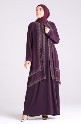 Plus Size Stone Printed Evening Dress 4529-02 Purple 4529-02