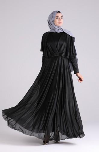 فساتين سهرة بتصميم اسلامي أسود 60173-02